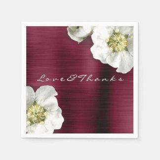 White  Jasmin Apple Flower Maroon Burgundy Paper Napkin