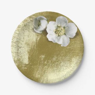 White Jasmine Flower Metallic Mint Green Tee 7 Inch Paper Plate