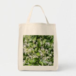 White Jasmine Flowers Canvas Bag
