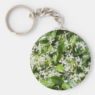 White Jasmine Flowers Basic Round Button Key Ring