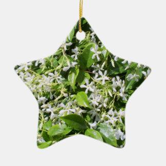 White Jasmine Flowers Ceramic Star Decoration