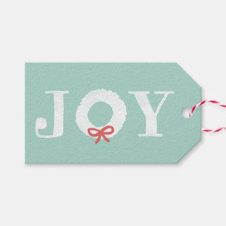 White Joy Christmas Wreath Holiday Gift Tags