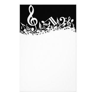 White Jumbled Musical Notes on Black Custom Stationery
