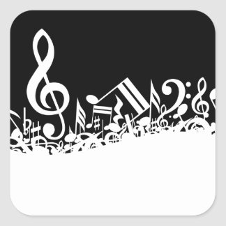 White Jumbled Musical Notes on Black Square Sticker