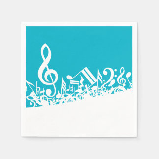 White Jumbled Musical Notes on Turquoise Paper Napkin