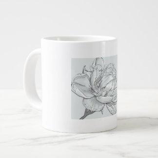 White, Jumbo, mug, image, rose, beautiful Large Coffee Mug