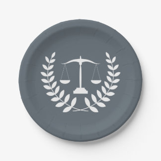 White Justice Scales + Custom Color Law Graduation 7 Inch Paper Plate
