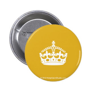 White Keep Calm Crown on Gold Background Pins