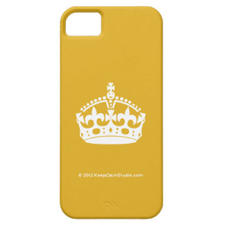 White Keep Calm Crown on Gold Background Barely There iPhone 5 Case