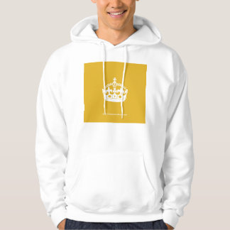 White Keep Calm Crown on Gold Background Hoodie