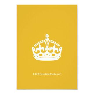 White Keep Calm Crown on Gold Background Custom Invites