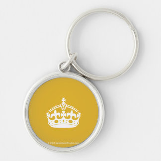 White Keep Calm Crown on Gold Background Silver-Colored Round Key Ring
