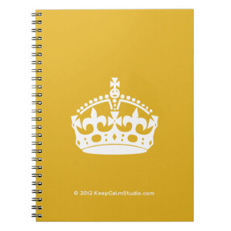 White Keep Calm Crown on Gold Background Notebook