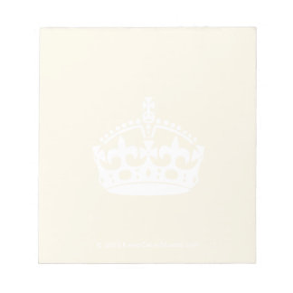 White Keep Calm Crown on Gold Background Memo Pad