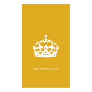 White Keep Calm Crown on Gold Background Pack Of Standard Business Cards