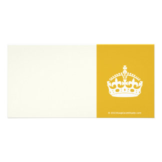 White Keep Calm Crown on Gold Background Photo Card