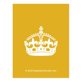 White Keep Calm Crown on Gold Background Postcard