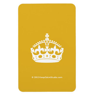 White Keep Calm Crown on Gold Background Rectangular Magnets