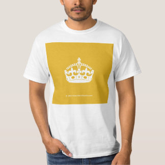 White Keep Calm Crown on Gold Background T-Shirt
