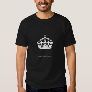 White Keep Calm Crown on Gold Background T-shirts