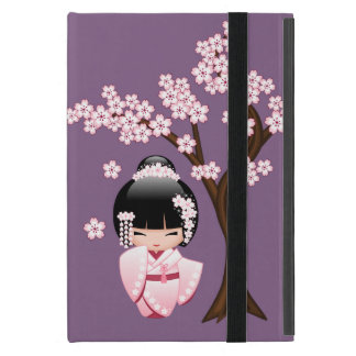 White Kimono Kokeshi Doll - Cute Geisha Girl Cover For iPad Mini