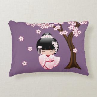 White Kimono Kokeshi Doll - Cute Geisha Girl Decorative Cushion