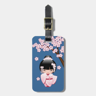 White Kimono Kokeshi Doll - Cute Geisha Girl Luggage Tag