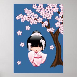 White Kimono Kokeshi Doll - Cute Geisha Girl Poster