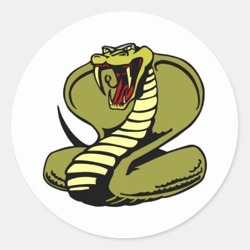 White King Cobra Round Stickers