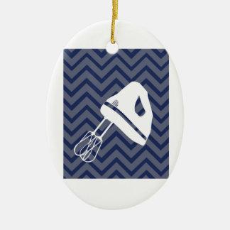 White-Kitchen - Hand mixer on chevron Ceramic Ornament
