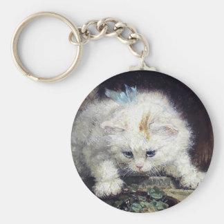 White Kitten Cat Pet Cute Animal Antique painting Key Ring