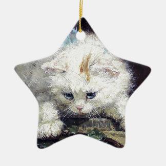 White Kitten Cat Pet Cute Animal Antique painting Ornament