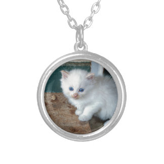 White Kitten Silver Plated Necklace