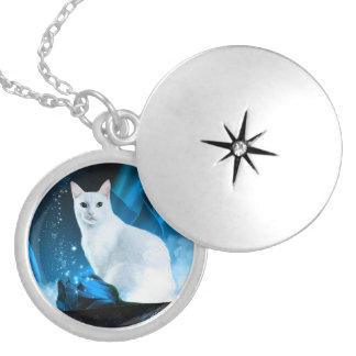 White Kitten with blue roses and sparkles Silver Plated Necklace