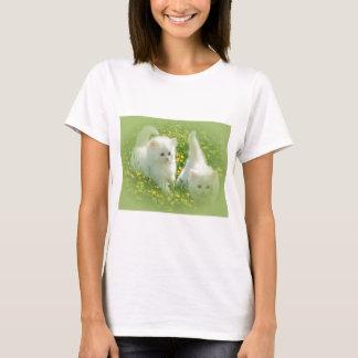 white kittens and yellow flowers T-Shirt