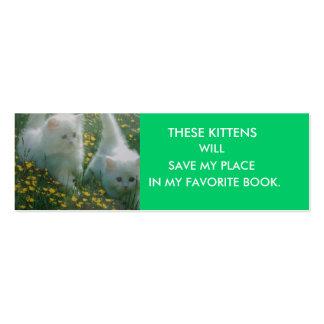 White Kittens Bookmark Business Cards