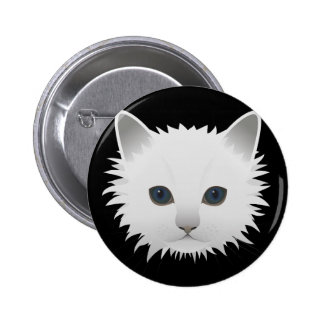 White Kitty 6 Cm Round Badge