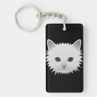 White kitty blue eyes Double-Sided rectangular acrylic key ring