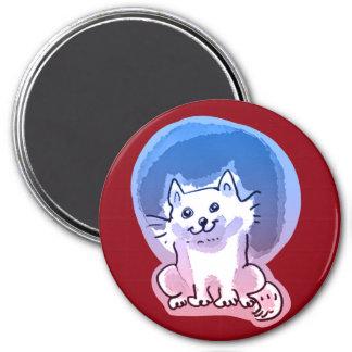 white kitty cartoon style illustration 7.5 cm round magnet