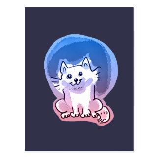white kitty cartoon style illustration postcard