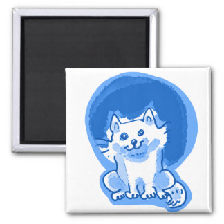 white kitty cartoon style illustration square magnet