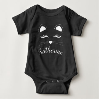 White Kitty Cat Baby Bodysuit