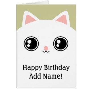 White Kitty Cat Face Happy Birthday Custom Card