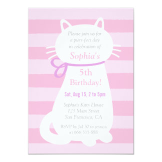 White Kitty Cat Pink Stripes Girls Birthday Party Card