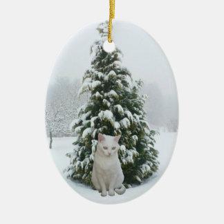 White Kitty Christmas Ornament