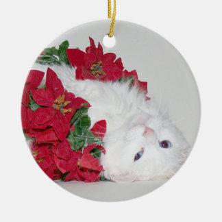 White kitty Christmas Round Ceramic Decoration