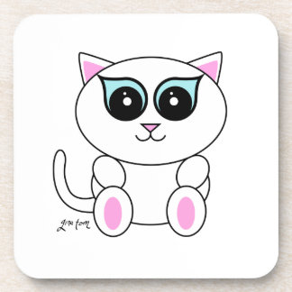 White Kitty Drink Coasters