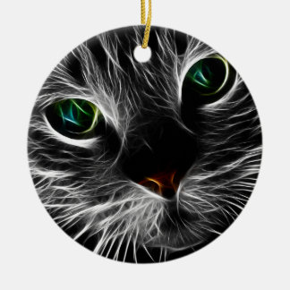 White Kitty Face Abstract | Fractal Kitty Ceramic Ornament