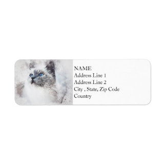 White Kitty Portrait | Abstract | Watercolor Return Address Label