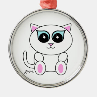 White Kitty Silver-Colored Round Decoration